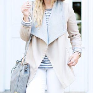 Tan & Grey Open Large Lapel Cardigan Sweater